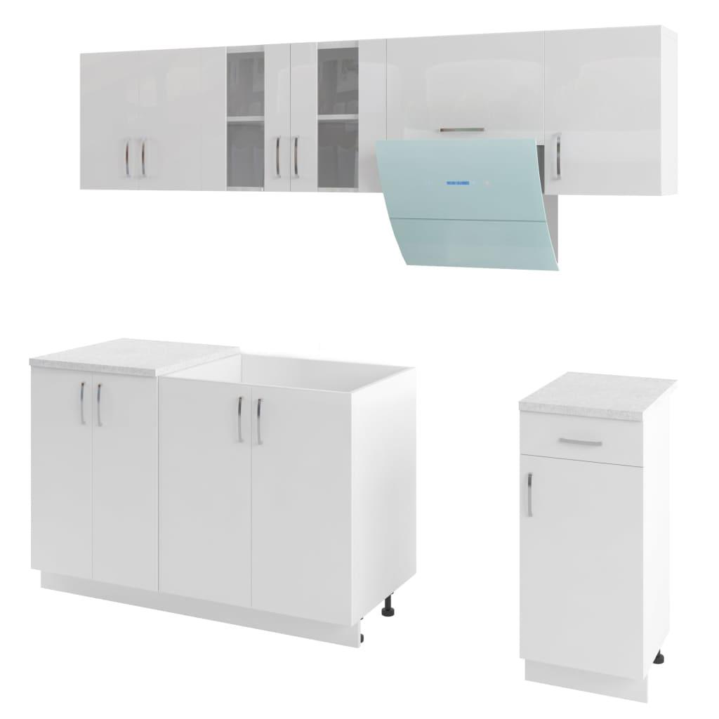 Afbeelding van vidaXL Keukenkastenset met afzuigkap 7-delig hoogglans wit