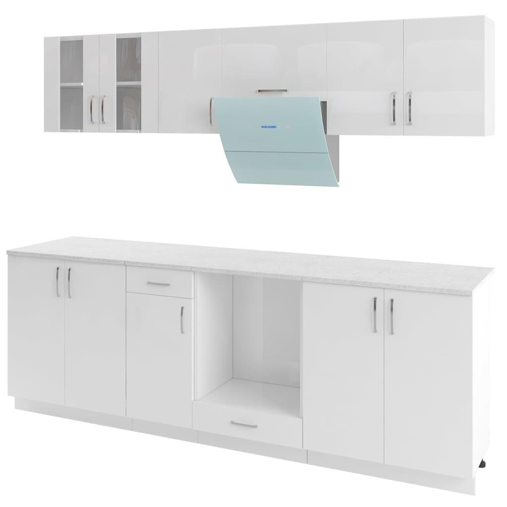 Afbeelding van vidaXL Keukenkastenset met afzuigkap 8-delig hoogglans wit