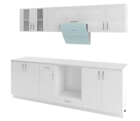 vidaXL Ensemble d'armoires de cuisine 8 pcs avec hotte Blanc brillant