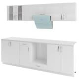 vidaXL 8 delars köksskåp set med köksfläkt högglans vit