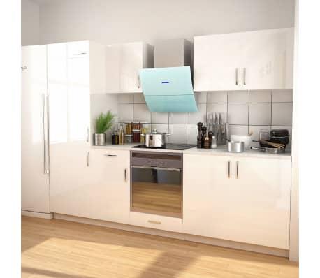 Vidaxl 7 Piece Kitchen Cabinet Set With Range Hood High Gloss White 1 9