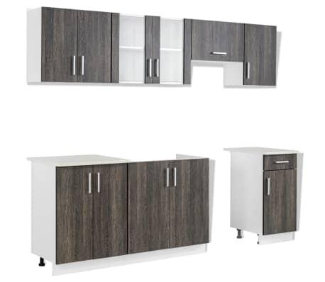 vidaXL Meubles de cuisine 7 pcs avec hotte Aspect wengé[3/9]
