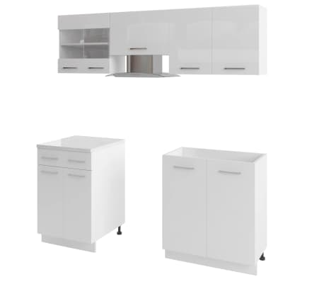 vidaXL 5 delars köksskåp set med köksfläkt högglans vit