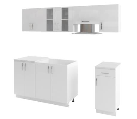 vidaXL 7 delars köksskåp set med köksfläkt högglans vit[2/9]