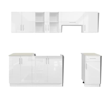 vidaXL 7 delars köksskåp set med köksfläkt högglans vit[4/9]