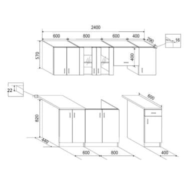 vidaXL 7 delars köksskåp set med köksfläkt högglans vit[9/9]