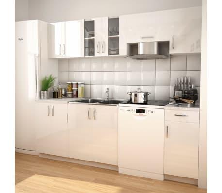 vidaXL 7 delars köksskåp set med köksfläkt högglans vit[1/9]
