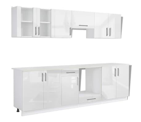 vidaXL Ensemble d'armoires de cuisine 8 pcs avec hotte Blanc brillant[3/9]