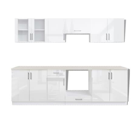 vidaXL Ensemble d'armoires de cuisine 8 pcs avec hotte Blanc brillant[4/9]