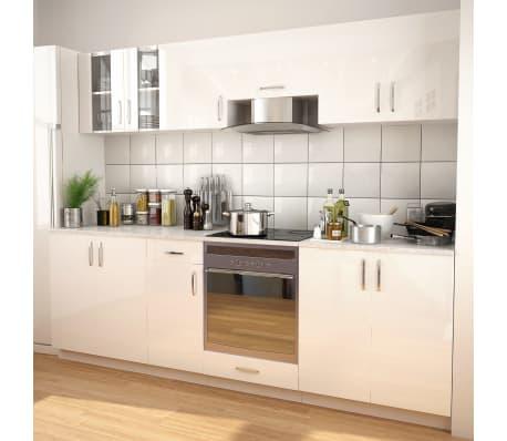 vidaXL Ensemble d'armoires de cuisine 8 pcs avec hotte Blanc brillant[1/9]