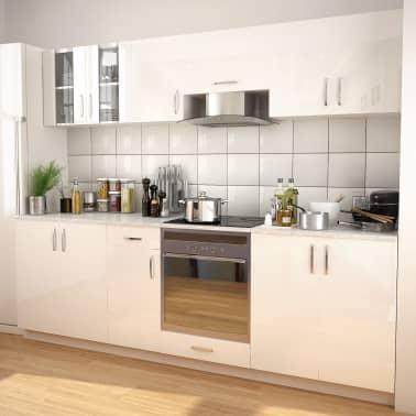 Vidaxl 8 Piece Kitchen Cabinet Set With Range Hood High Gloss White 1 9
