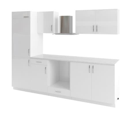 vidaXL Ensemble d'armoires de cuisine 7 pcs avec hotte Blanc brillant[2/9]