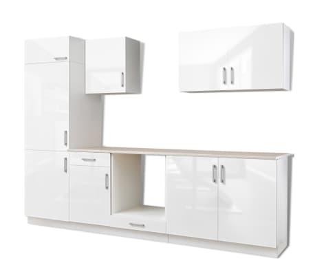 vidaXL Ensemble d'armoires de cuisine 7 pcs avec hotte Blanc brillant[3/9]