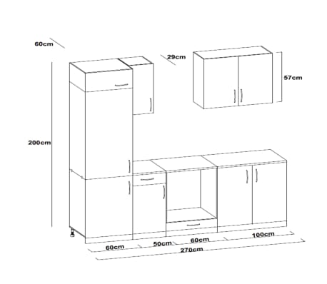 vidaXL Ensemble d'armoires de cuisine 7 pcs avec hotte Blanc brillant[9/9]