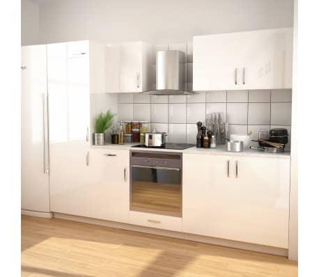 vidaXL Ensemble d'armoires de cuisine 7 pcs avec hotte Blanc brillant[1/9]