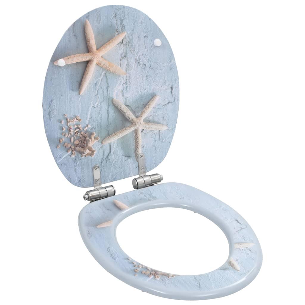 vidaXL WC sedátko s funkcí pomalého sklápění MDF motiv mořské hvězdice
