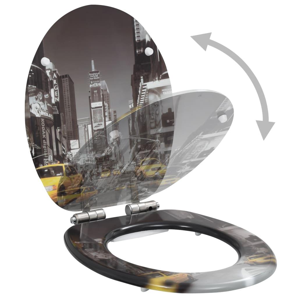 vidaXL Toiletbril met soft-close deksel New York MDF