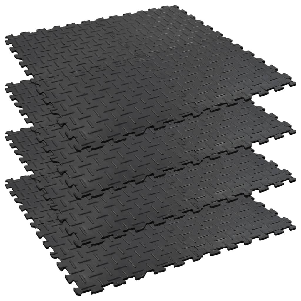 Zámkové koňské rohože 4 ks gumové 60 x 60 cm 12 mm drážkované