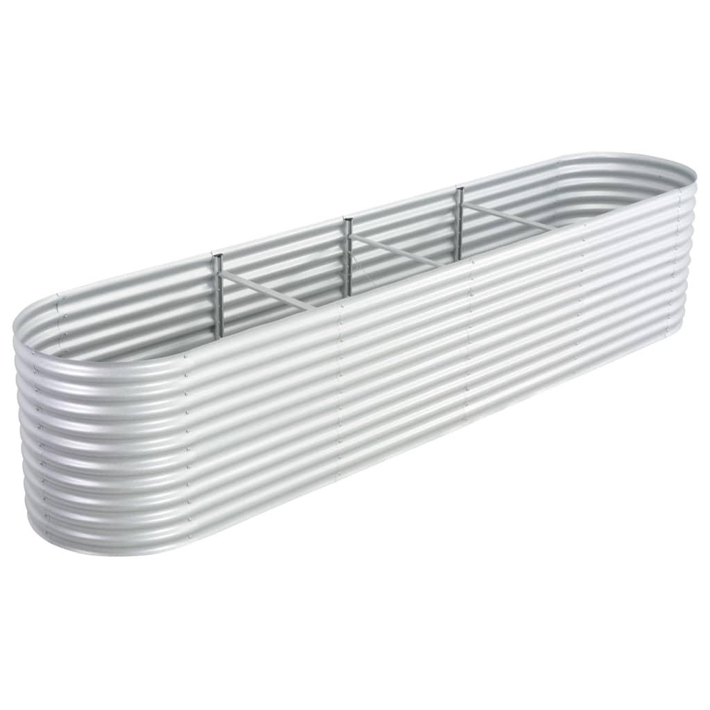 vidaXL Strat înălțat grădină, argintiu 400x80x81 cm, oțel galvanizat poza vidaxl.ro
