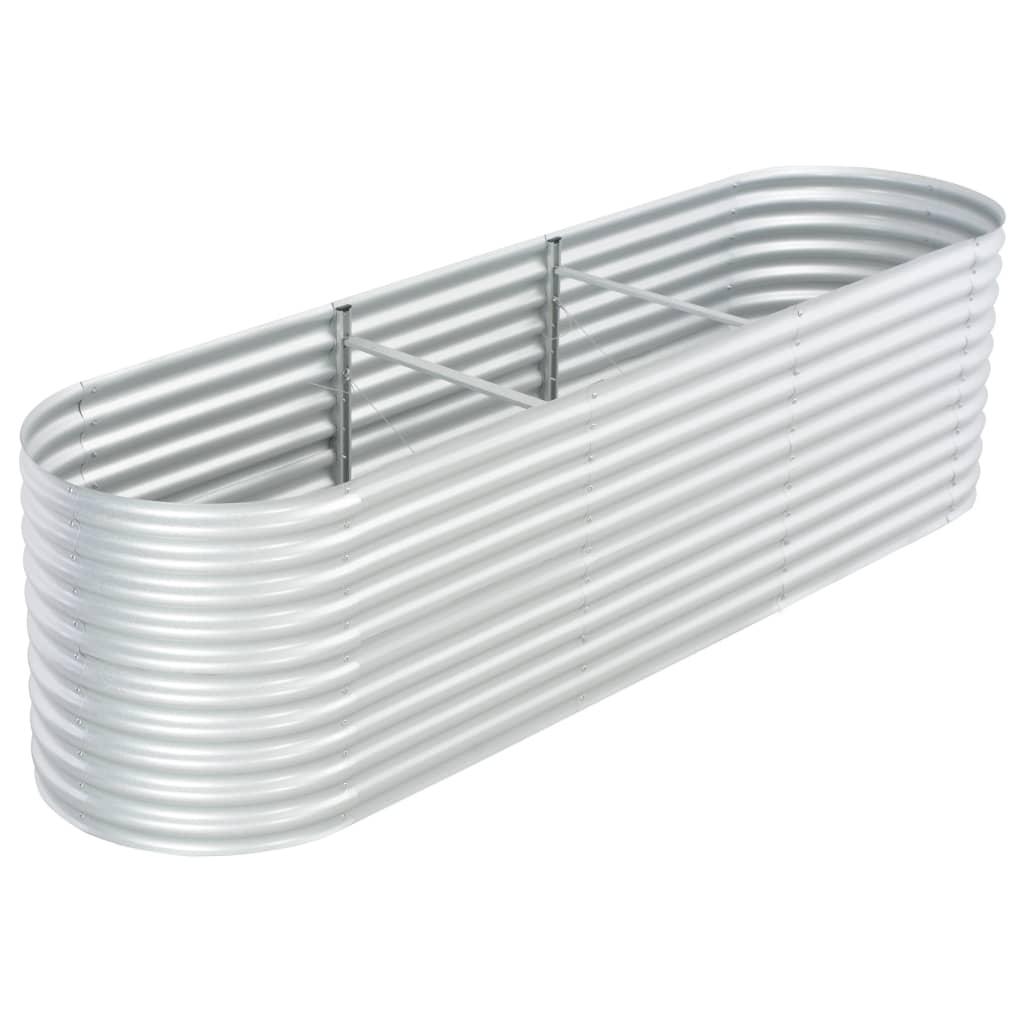 vidaXL Plantenbak verhoogd 320x80x81 cm gegalvaniseerd staal zilver
