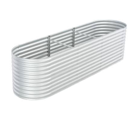 vidaXL Garden Raised Bed 320x80x81 cm Galvanised Steel Silver