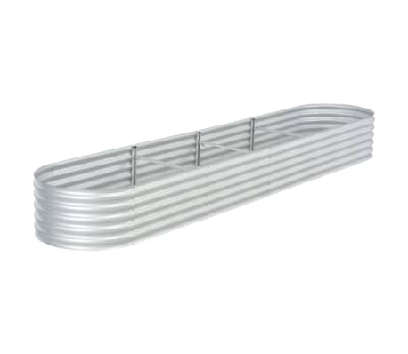 vidaXL Garden Raised Bed 400x80x44 cm Galvanised Steel Silver