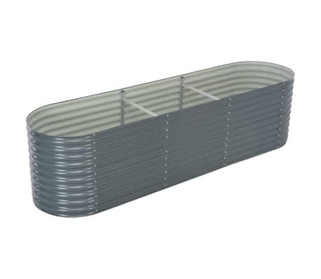 vidaXL Garden Raised Bed 320x80x81 cm Galvanised Steel Grey