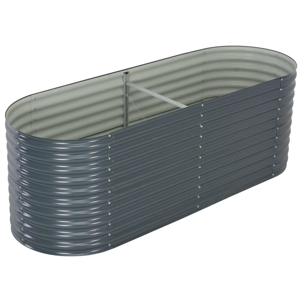 vidaXL Strat înălțat de grădină, gri, 240x80x81 cm, oțel galvanizat poza vidaxl.ro
