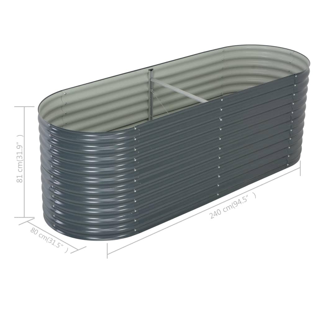 vidaXL Plantenbak verhoogd 240x80x81 cm gegalvaniseerd staal grijs