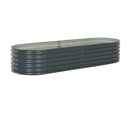 vidaXL Garden Raised Bed 240x80x44 cm Galvanised Steel Grey