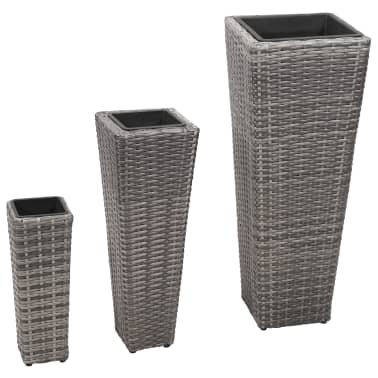 vidaXL Garden Planter Set 3 pcs Poly Rattan Gray[1/8]
