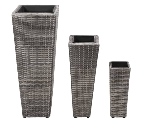 vidaXL Garden Planter Set 3 pcs Poly Rattan Gray[2/8]