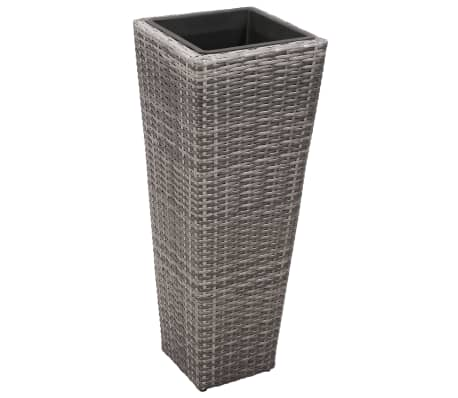 vidaXL Garden Planter Set 3 pcs Poly Rattan Gray[3/8]