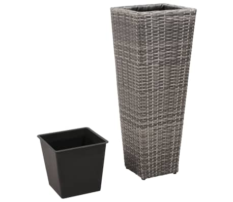 vidaXL Garden Planter Set 3 pcs Poly Rattan Gray[4/8]
