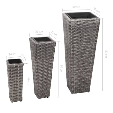 vidaXL Garden Planter Set 3 pcs Poly Rattan Gray[8/8]