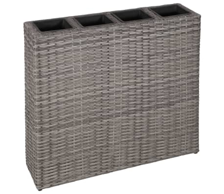 vidaXL Planter with 4 Pots Poly Rattan Grey[1/6]