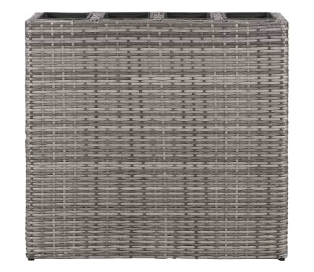 vidaXL Planter with 4 Pots Poly Rattan Grey[3/6]