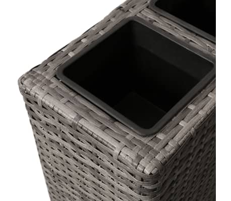 vidaXL Planter with 4 Pots Poly Rattan Grey[5/6]