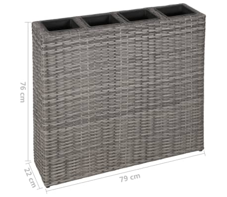 vidaXL Planter with 4 Pots Poly Rattan Grey[6/6]