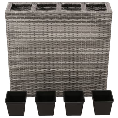 vidaXL Planter with 4 Pots Poly Rattan Grey[2/6]