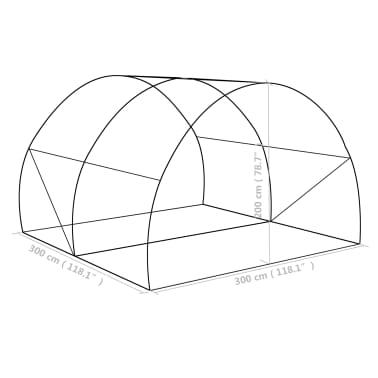 vidaXL Rastlinjak z jeklenim ogrodjem 9m² 300x300x200 cm[13/13]