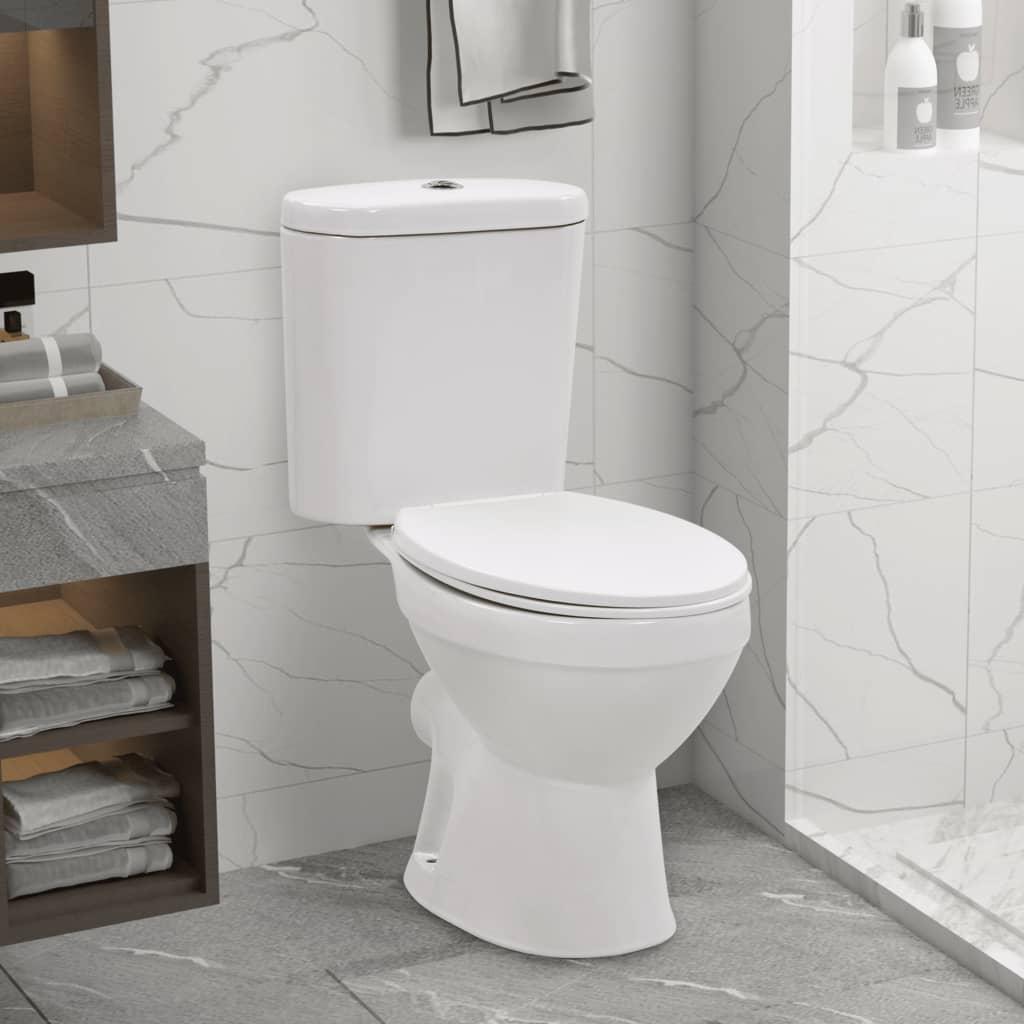 vidaXL Stojící WC s nádržkou funkce pomalého sklápění keramické bílé
