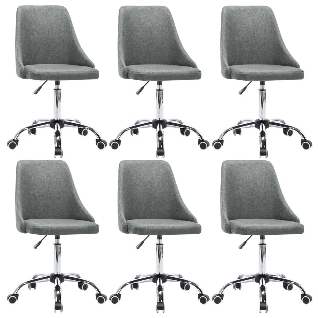 vidaXL Καρέκλες Τραπεζαρίας με Ρόδες 6 τεμ. Ανοιχτό Γκρι Υφασμάτινες