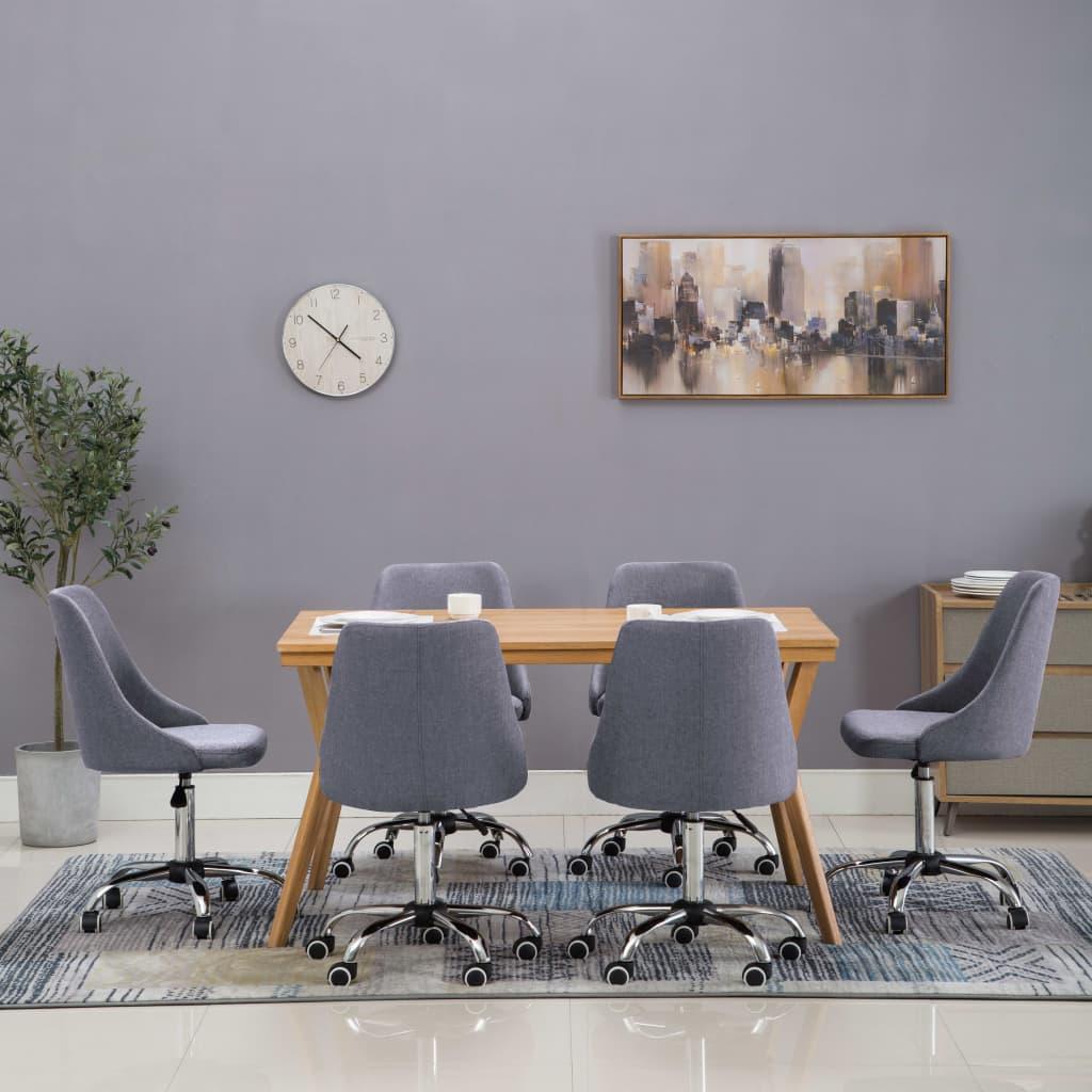 vidaXL Pojízdné jídelní židle s textilním čalouněním 6 ks tmavě šedé