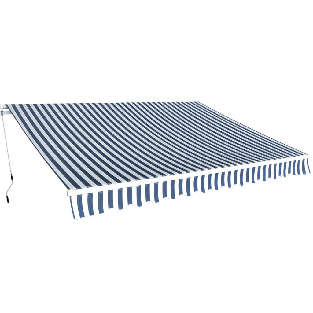 vidaXL Copertină pliabilă cu acționare manuală, 350 cm, albastru/alb vidaxl.ro