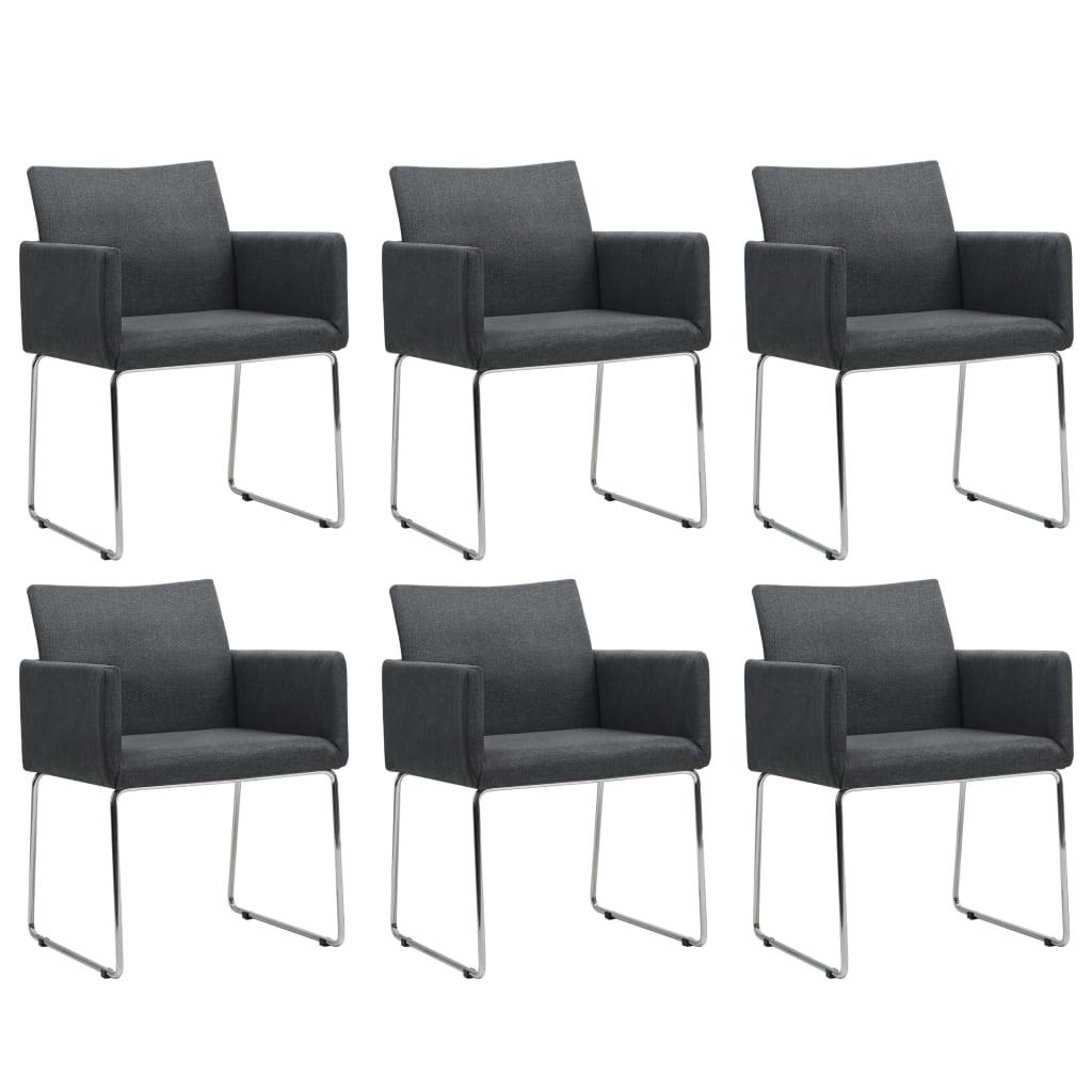 vidaXL spisebordsstole 6 stk. stof mørkegrå
