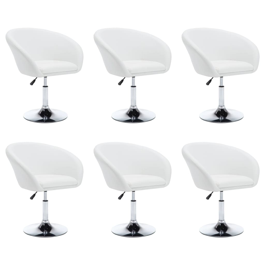 vidaXL Καρέκλες Τραπεζαρίας 6 τεμ. Λευκές 67,5×58,5×87 εκ. Δερματίνη