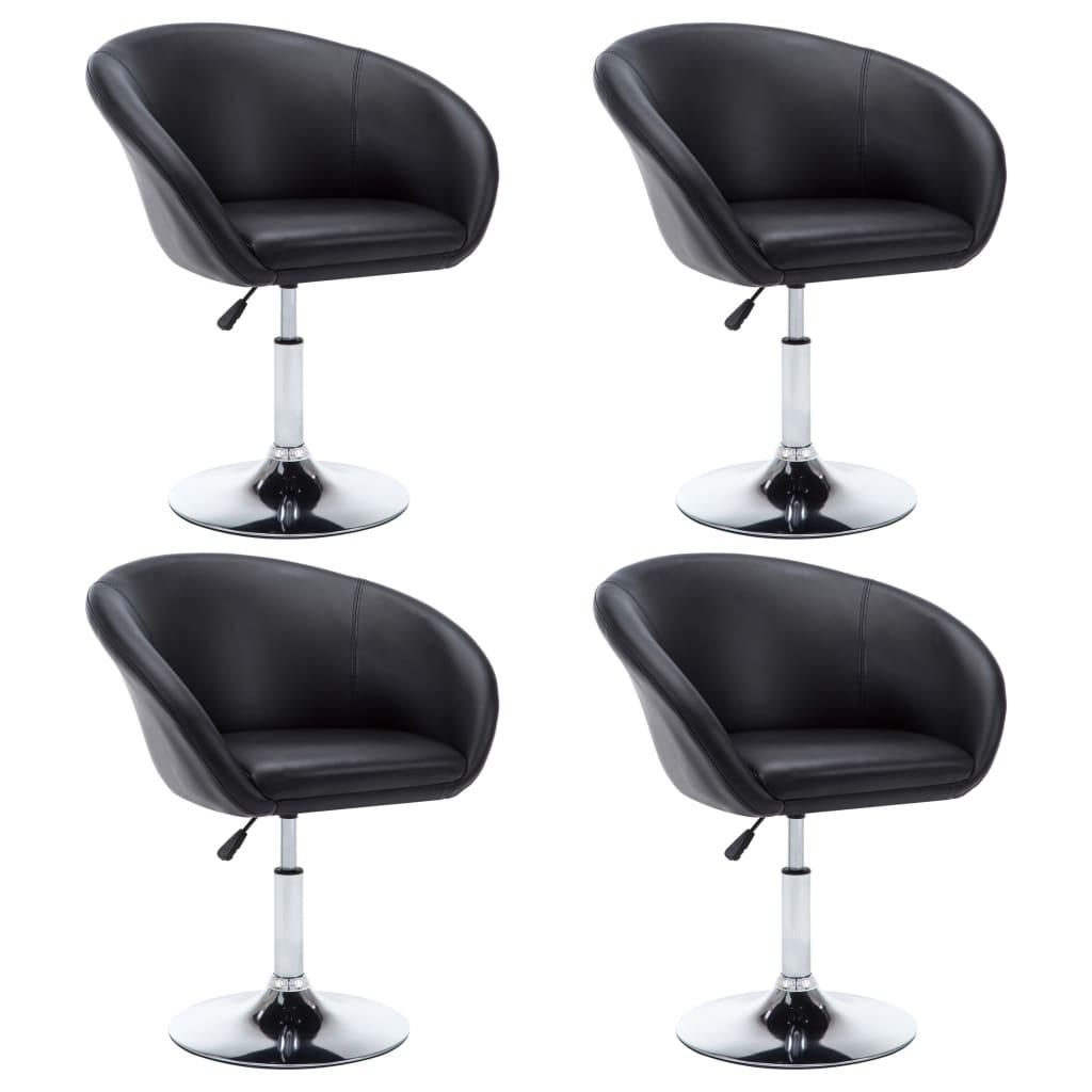 vidaXL Chaise pivotante 4 pcs Similicuir 67,5x58,5x87 cm Noir