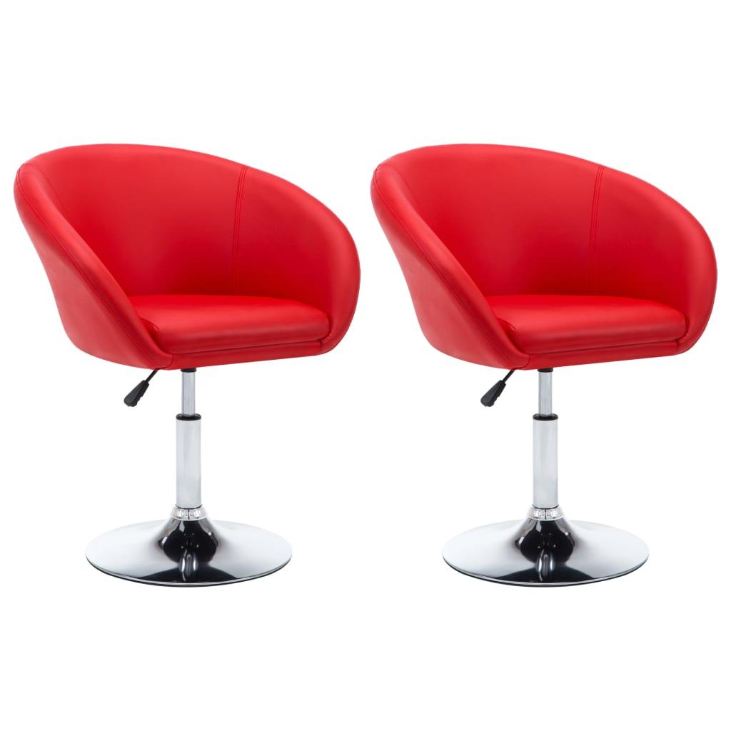 vidaXL Otočné jídelní židle z umělé kůže 2 ks 67,5x58,5x87 cm červené