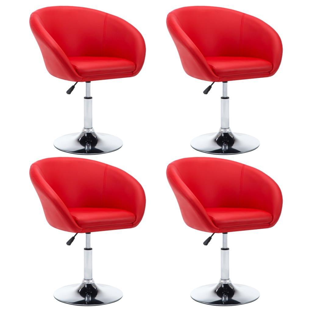 vidaXL Καρέκλες Τραπεζαρίας 4 τεμ. Κόκκινες 67,5×58,5×87 εκ. Δερματίνη
